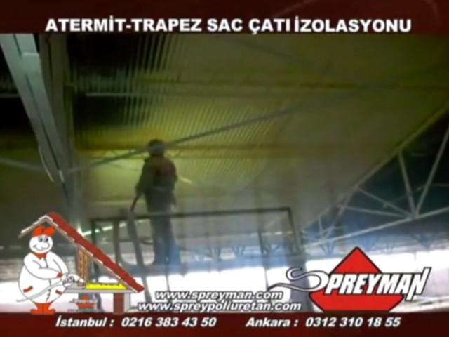 Sprey Poliüretan Köpük Trapez Saç Çatı Ters Tavan Yalıtımı