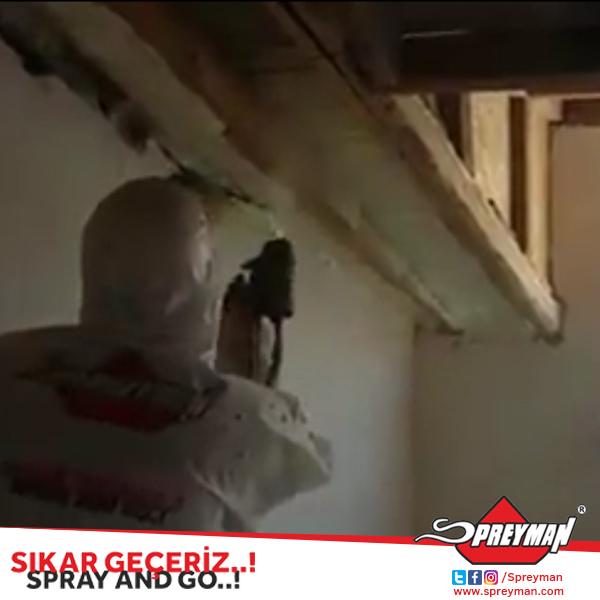 Spreyman poliüretan dublex çatı ters tavan 8-10 cm kalınlıkta ısı yalıtım uygulaması.